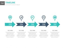 Linear Arrow Timeline Chart With Years And Icons Powerpoint Slides