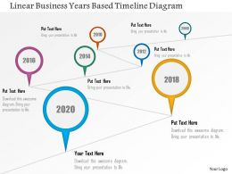 Linear Business Years Based Timeline Diagram Powerpoint Templates
