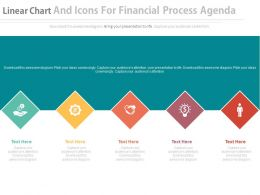 Linear Chart And Icons For Financial Progress Agenda Flat Powerpoint Design