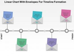 Linear Chart With Envelopes For Timeline Formation Flat Powerpoint Design