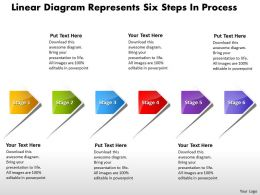 Linear Diagram Represents Six Stage Process Flow Chart Template Powerpoint Slides