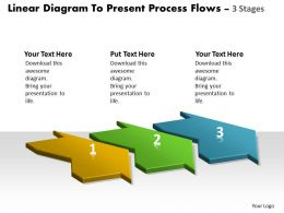Linear Diagram To Present Process Flows 3 Stages New Product Chart Powerpoint Templates