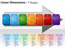 linear dimensions 7 stages shown by arrows and text boxes inside powerpoint templates 0712