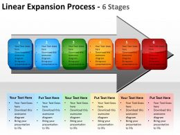 linear expansion process 6 stages shown by arrows and text boxes inside powerpoint templates 0712
