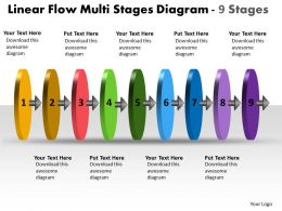 Linear Flow 9 Stages Diagram Free Powerpoint Templates