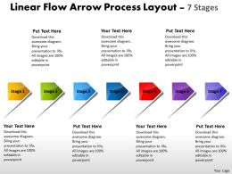 Linear Flow Arrow Process Layout 7 Stages Home Electrical Wiring Powerpoint Slides