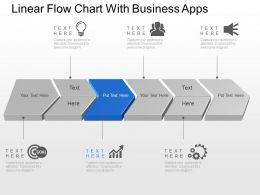 Linear Flow Chart With Business Apps Powerpoint Template Slide