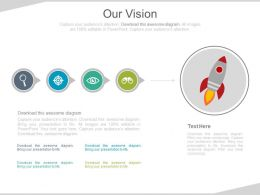 Linear Flow Diagram With Rocket And Business Icons For Business Vision Powerpoint Slides