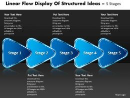 linear_flow_display_of_structured_ideas_5_stages_flowchart_powerpoint_free_templates_Slide01
