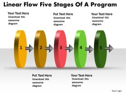 Linear Flow Five Stages Of Program Powerpoint Chart Slides