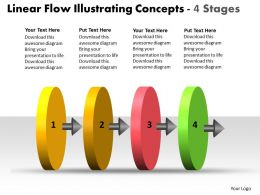Linear Flow Illustrating Concepts 4 Stages Chart Free Powerpoint Templates