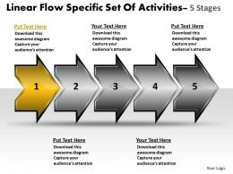 Linear Flow Specific Set Of Activities 5 Stages Make Chart Powerpoint Templates