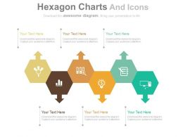 Linear Hexagon Charts And Icons For Financial Analysis Flat Powerpoint Design