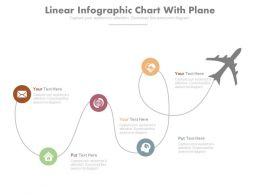 Linear Infographic Chart With Plane Powerpoint Slides