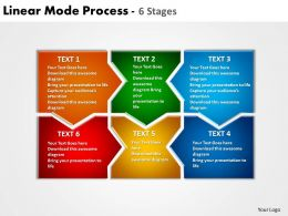 linear mode process 6 stages powerpoint templates graphics slides 0712