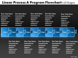 Linear Process Program Flowchart 10 Stages Powerpoint Slides
