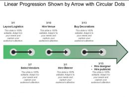 Linear Progression Shown By Arrow With Circular Dots