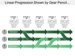 Linear Progression Shown By Gear Pencil Image With Unidirectional Arrows