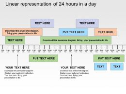 Linear Representation Of 24 Hours In A Day Flat Powerpoint Design