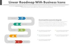 Linear Roadmap With Business Icons Powerpoint Slides