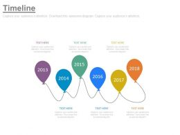 Linear Sequential Balloons Timeline With Years Powerpoint Slides