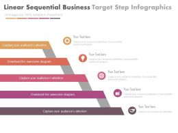 Linear Sequential Business Target Steps Infographics Flat Powerpoint Design