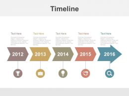 Linear Sequential Timeline for Year Based Analysis Powerpoint Slides