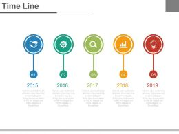Linear Sequential Timeline With Icons Powerpoint Slides