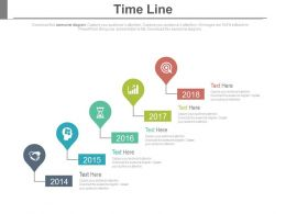 Linear Sequential Timeline With Year Based And Icons Powerpoint Slides