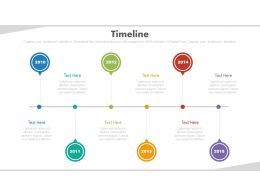 Linear Sequential Timeline With Years Powerpoint Slides