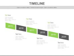 Linear Sequential Year Based Timeline Diagram Powerpoint Slides