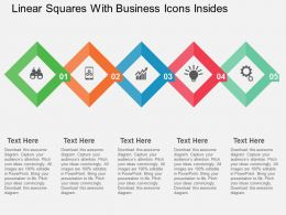 Linear Squares With Business Icons Insides Flat Powerpoint Design
