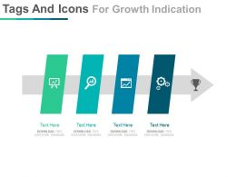Linear Tags And Icons For Growth Indication Powerpoint Slides