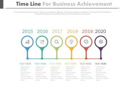 Linear Timeline For Business Achievement Powerpoint Slides