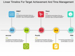 Linear Timeline For Target Achievement And Time Management Flat Powerpoint Design
