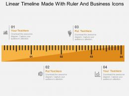 Linear Timeline Made With Ruler And Business Icons Flat Powerpoint Design