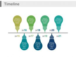 Linear Timeline with Bulb Design and Years Powerpoint Slides