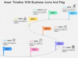 Linear Timeline With Business Icons And Flag Flat Powerpoint Design