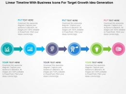 Linear Timeline With Business Icons For Target Growth Idea Generation Flat Powerpoint Design