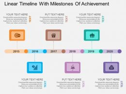 Linear Timeline With Milestones Of Achievement Flat Powerpoint Design