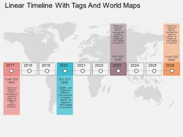Linear Timeline With Tags And World Map Ppt Presentation Slides