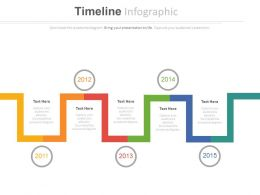 Linear Timeline With Year Based Analysis Powerpoint Slides
