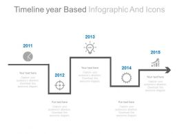Linear Timeline Year Based Infographcis And Icons Powerpoint Slides