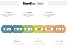 Linear Year Based Timeline Chain Diagram Powerpoint Slides