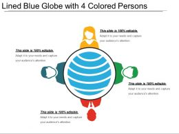 Lined Blue Globe With 4 Colored Persons