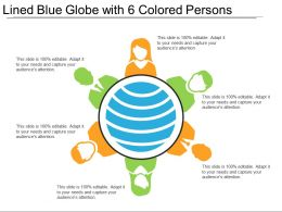 Lined Blue Globe With 6 Colored Persons