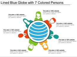 Lined Blue Globe With 7 Colored Persons