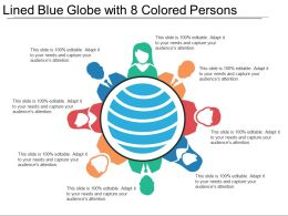 Lined Blue Globe With 8 Colored Persons