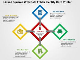 Linked Squares With Data Folder Identity Card Printer Flat Powerpoint Design