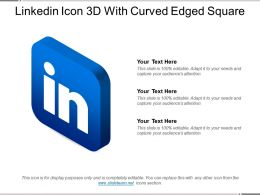 Linkedin Icon 3d With Curved Edged Square
